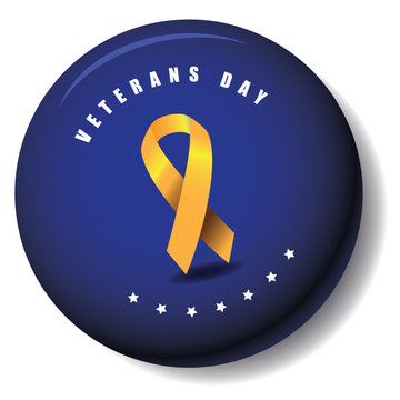 Veterans Day yellow ribbon button design EPS 10 vector royalty free stock illustration for greeting card, ad, promotion, poster, flier, blog, article, social media, marketing