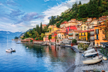 Fotobehang Blauw Town of Menaggio on lake Como, Milan, Italy