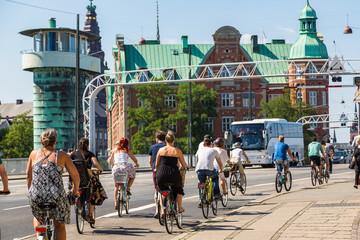 People biking in Copenhagen, Denmark