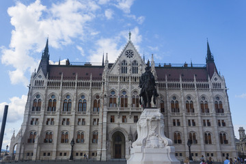 Hungarian Parliament Building Facade with Equestrian Statue - Budapest, Czech Republic