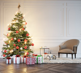christmas tree in old apartment