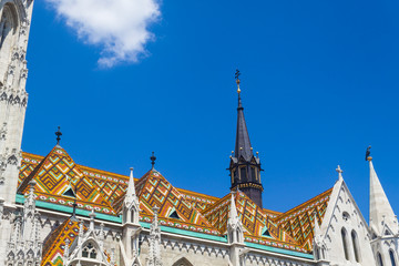 Matthias Church Roof in Buda Oldtown - Budapest, Czech Republic