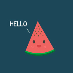 Cartoon Cute Watermelon Says Hello Illustration