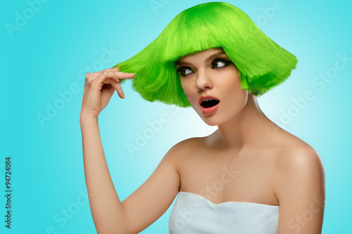 Woman Hair Beauty Fashion Model With Funky Green