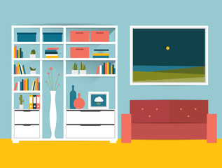 Living room interior. Flat design vector illustration.