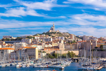 Notre Dame de la Garde and olf port in Marseille, France Fotomurales