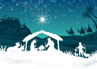 White silhouette nativity scene with magi