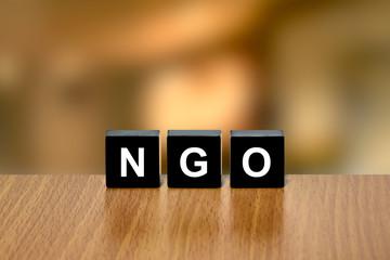 NGO or non-governmental organization on black block