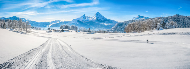 Wall Mural - Winter landscape in the Bavarian Alps with Watzmann massif, Germany
