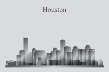 Houston city skyline silhouette in grayscale
