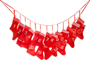 Advent calendar. Red christmas stocking isolated on white
