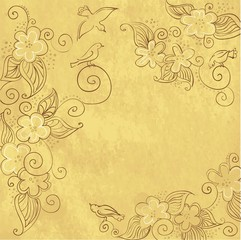 Background texture in old paper with floral ornament and birds