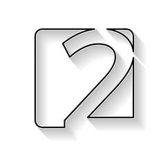 Fototapeta Vector number 2. Sign made with black line obraz