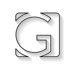 Vector initial letter G. Sign made with black line
