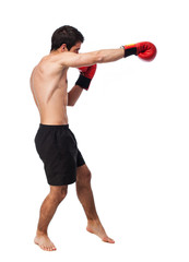 full body young boxer man over white
