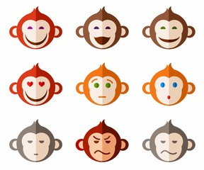 Monkeys, different emotions colored icons.