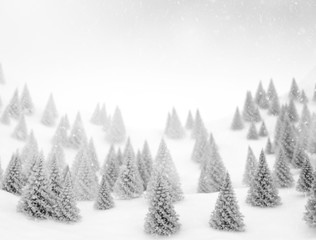 winter landscape and snowflakes