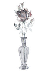 Watercolor monochrome rose in a glass vase