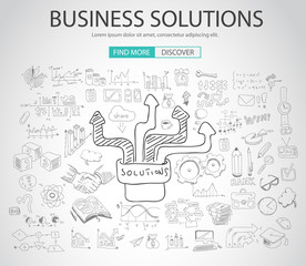 Business Solutions concept  with Doodle design style