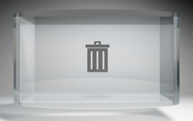 futuristic crystal display trash delete