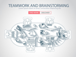Teamwork Concept with . Doodle design style