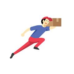 Running Delivery man cartoon vector