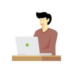 Vector of happy man working on workstation desk