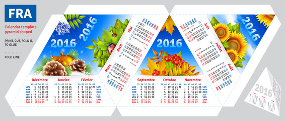 Template french calendar 2016 by seasons pyramid shaped, vector background