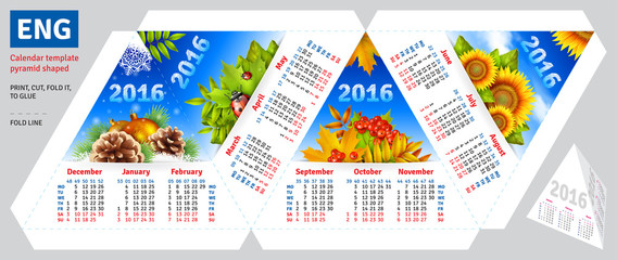 Template english calendar 2016 by seasons pyramid shaped, vector background