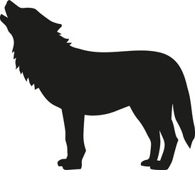 Wolf silhouette howling