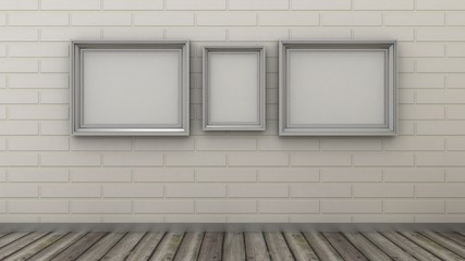 Empty picture frames in modern interior background on the white brick wall with rustic wooden floor. Copy space image.