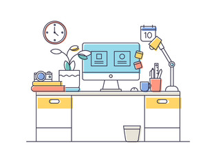 flat design of workspace