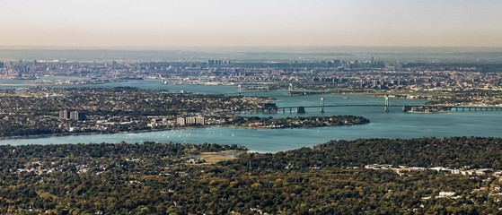 aerial of Queens with throgs net bridge and east river