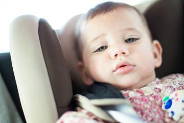 cute baby in a car