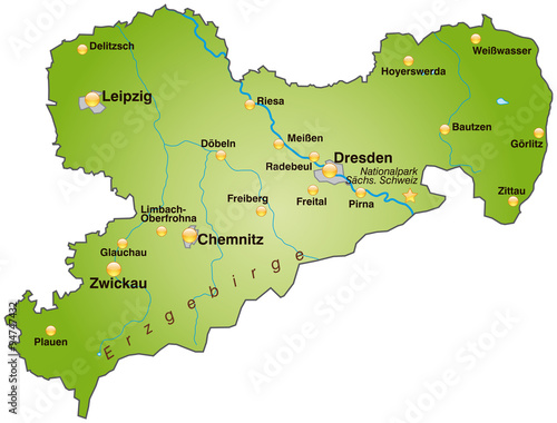sachsen karte Karte von Sachsen