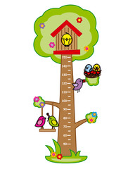 Bumper children meter wall. Tree and birds.