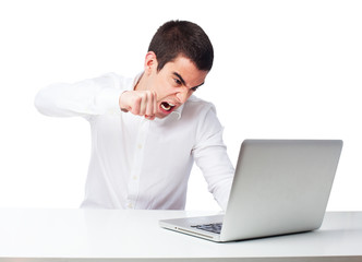 man worried with laptop