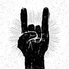 "Grunge ""rock on"" gesture illustration. Template for your slogan,"