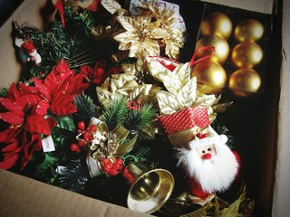 Preparing Christmas! Box with many christmas decoration and ornaments.