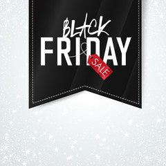 Black Friday sales Advertising Poster on Falling Snow and Stars