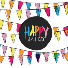 Happy Birthday Lettering On Holidays Pennant Bunting