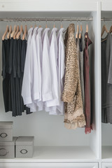 pants, shirts and dress hanging