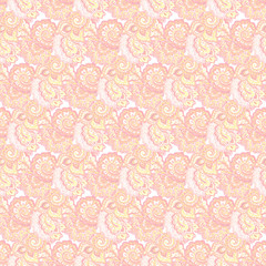 Seamless delicate pink pattern with traditional eastern ornament