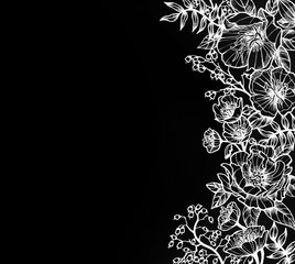 hand drawn flower design in white ink, elegant fancy floral doodle pattern of moss roses, primrose, ferns, wild rose and coral bells floral line design elements and copyspace on black background paper