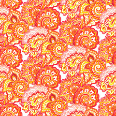 Red-yellow watercolor painted seamless indian ornament