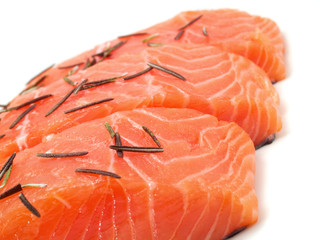 Raw salmon with rosemary