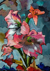 Oil painting of still life with orange and pink irises flowers in shade of black gray and blue On Canvas with texture