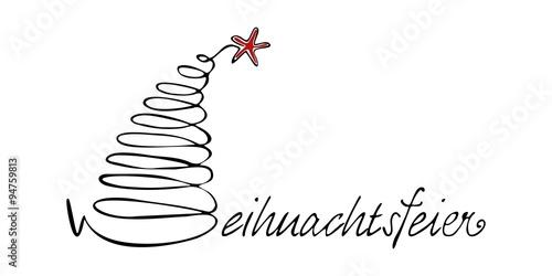 handgeschriebener schriftzug weihnachtsfeier mit weihnachtsbaum, Einladung