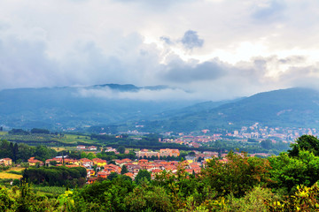 Low clouds over the valley in Tuscany
