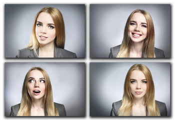 Collage of photos with beautiful young woman on gray background